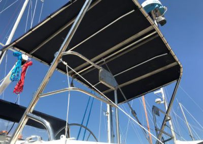 Yacht - Stainless targa roof arrangement with solar panels fitted