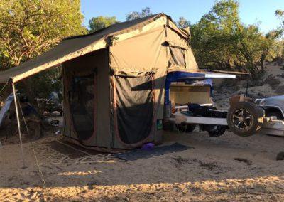 camper set up at remote camp site