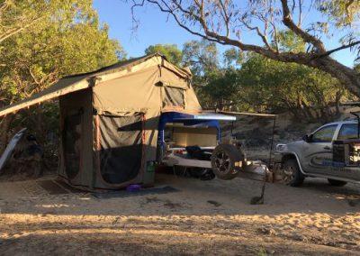 view of set up camper trailer